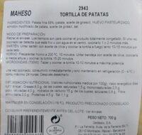 Tortilla de patatas - Información nutricional - es