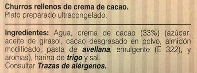Churros rellenos de crema de cacao - Ingrédients