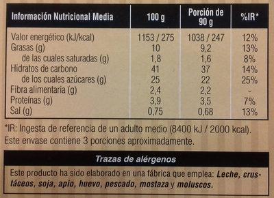 Churros rellenos de crema de cacao - Informations nutritionnelles
