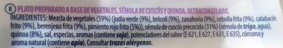 Cous cous con quinoa y verduras - Ingredients