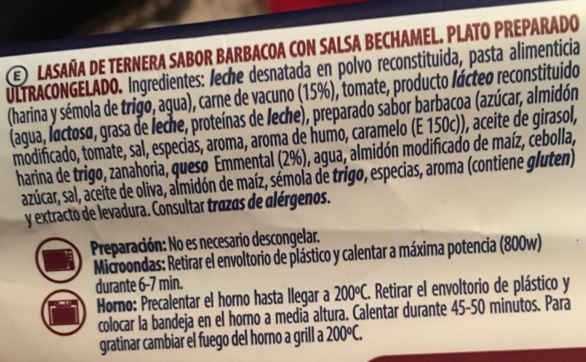 Lasaña Barbacoa - Ingrédients - fr