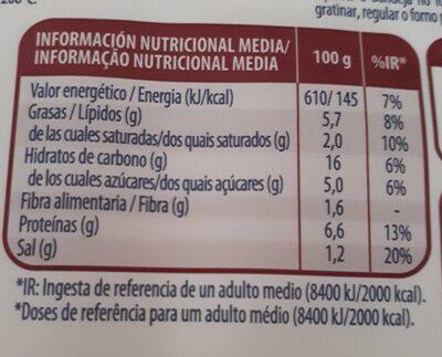 Lasaña Barbacoa - Informations nutritionnelles - fr