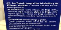 Pan tostado integral sin sal, sin azúcares - Ingredients - es