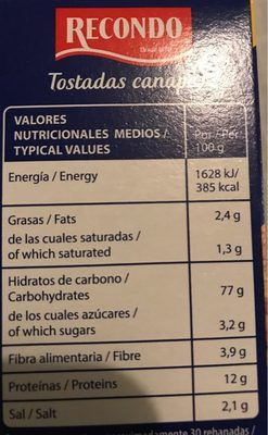 Tostadas para canapé cuadradas packs - Nutrition facts
