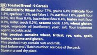 Hogaza 9 Cereales - Ingredients