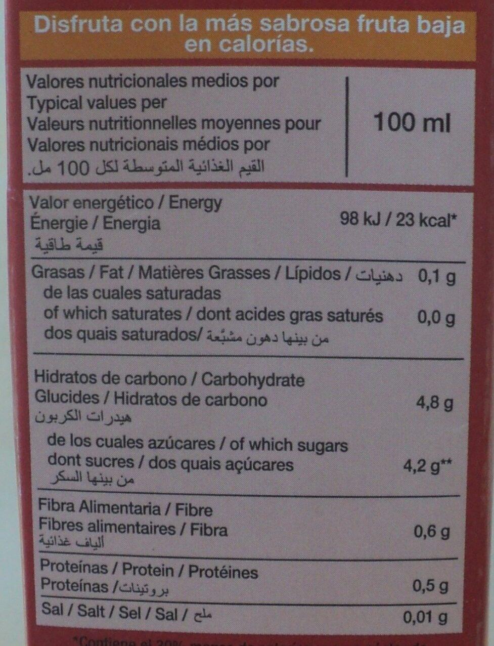 Disfruta nectar de piersici - Información nutricional