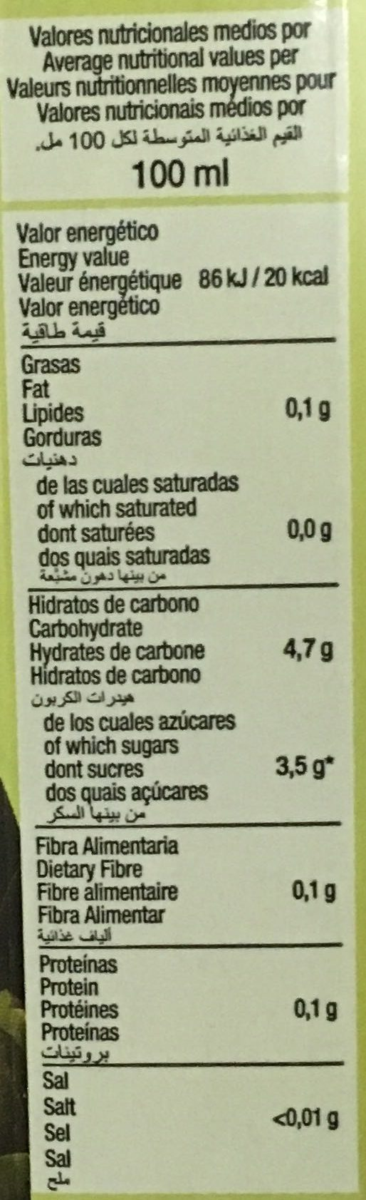 Exótico néctar de piña y coco sin azúcares añadidos - Informació nutricional - fr