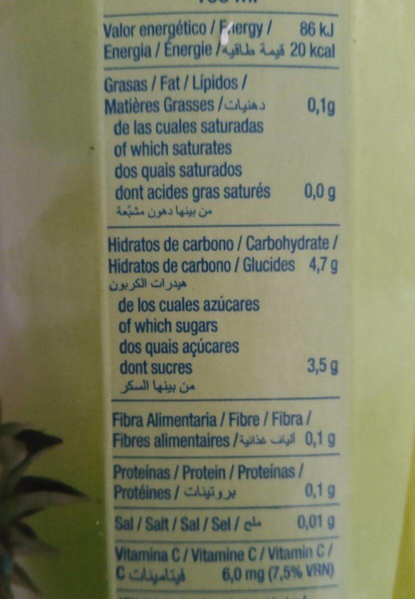Exótico néctar de piña y coco sin azúcares añadidos brik - Informació nutricional - fr