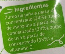 Zumo de piña, manzana y uva - Ingredientes