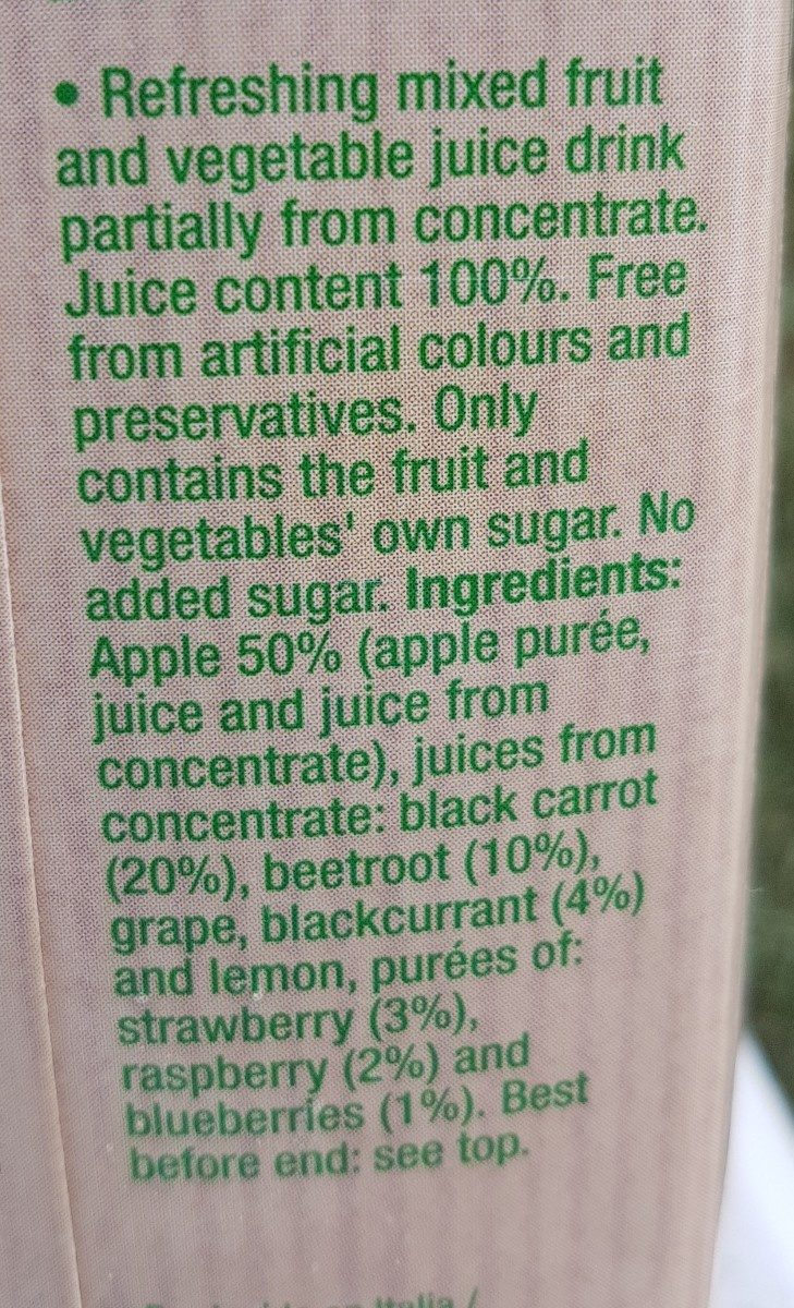 Veggies bebida de zumo de frutas del bosque sin - Ingrédients - en