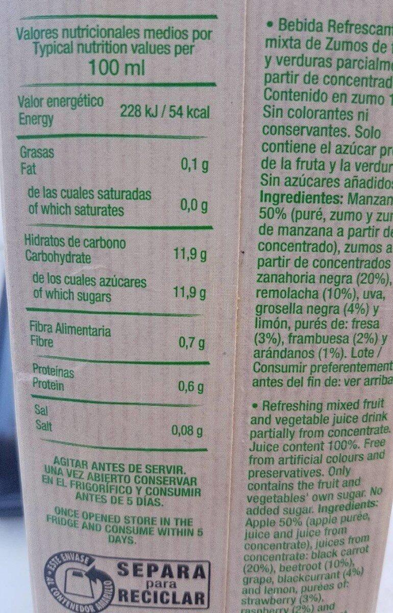 Veggies bebida de zumo de frutas del bosque sin - Informations nutritionnelles - en