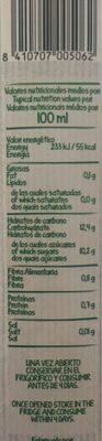 100% Frutísima bebida de zumo de fresa, plátano y uva tinta - Información nutricional