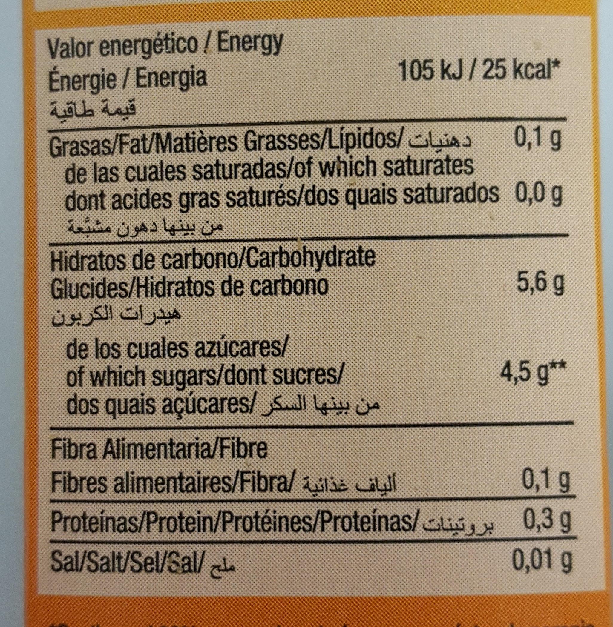 Disfruta Néctar Naranja - Información nutricional
