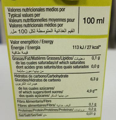 Zumo de piña - sin azúcares añadidos - Información nutricional - es