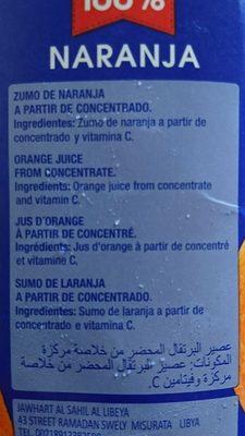 Juver 100% Orange - Ingredients