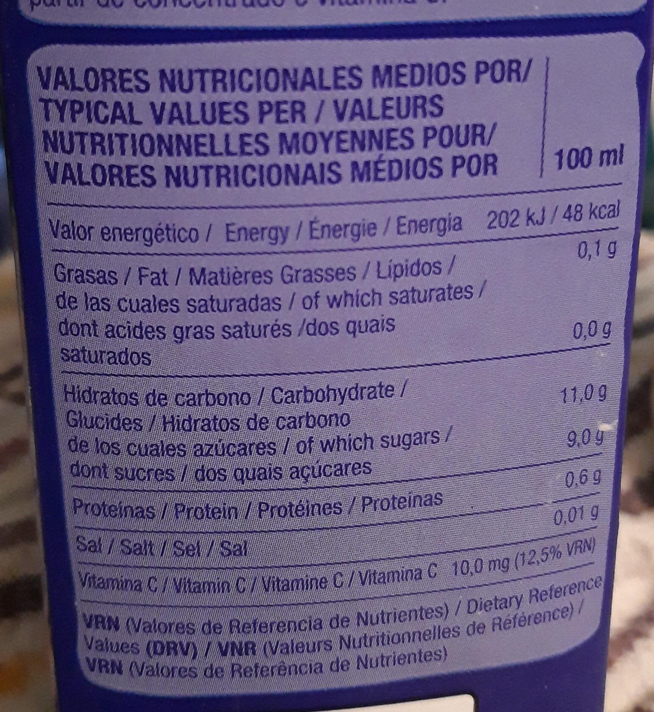Juver 100% Orange - Información nutricional