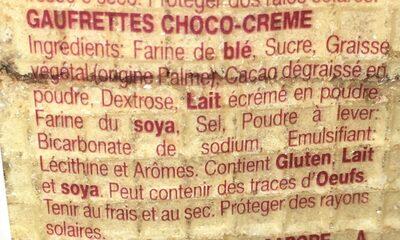 Galleta Coral Boer Choco Nata 330GR - Ingredients - fr