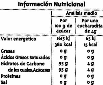 Azúcar moreno de caña integral - Información nutricional - es