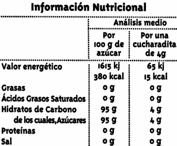Azúcar moreno de caña integral - Nutrition facts - es
