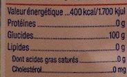 Sucre en poudre - Informations nutritionnelles - fr