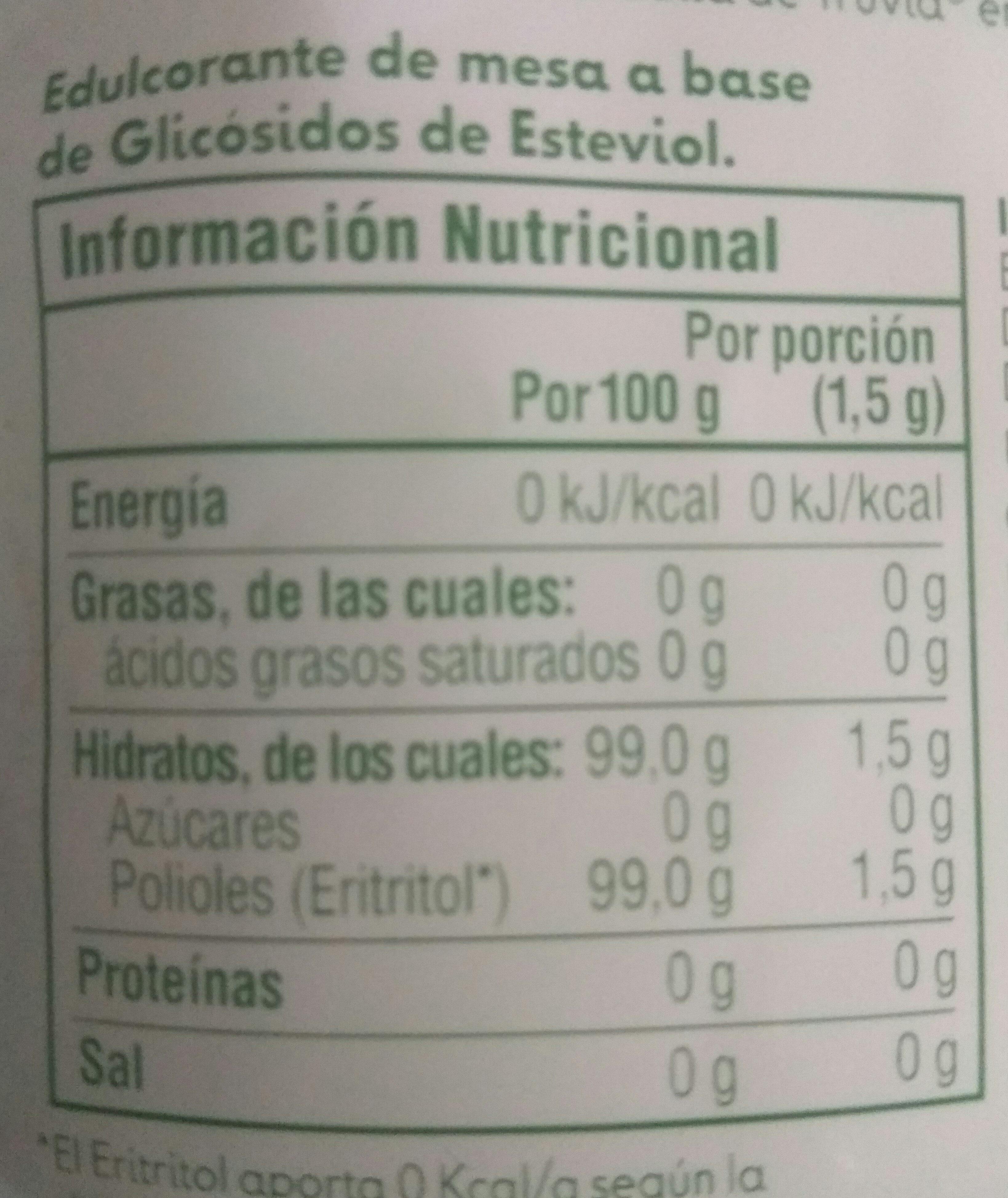 Truvía - Información nutricional - es