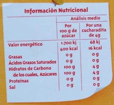 Azúcar blanco envase 800 g - Información nutricional