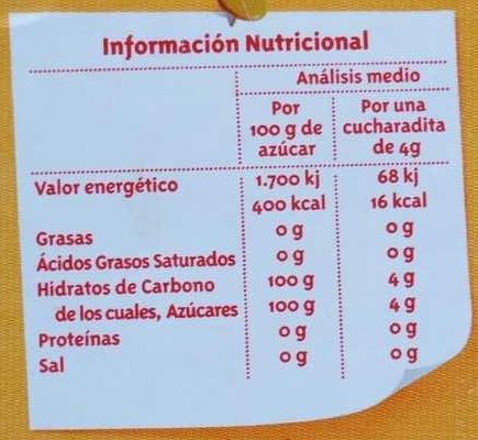 Azúcar blanco envase 800 g - Informations nutritionnelles
