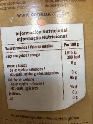 Azúcar moreno - Información nutricional