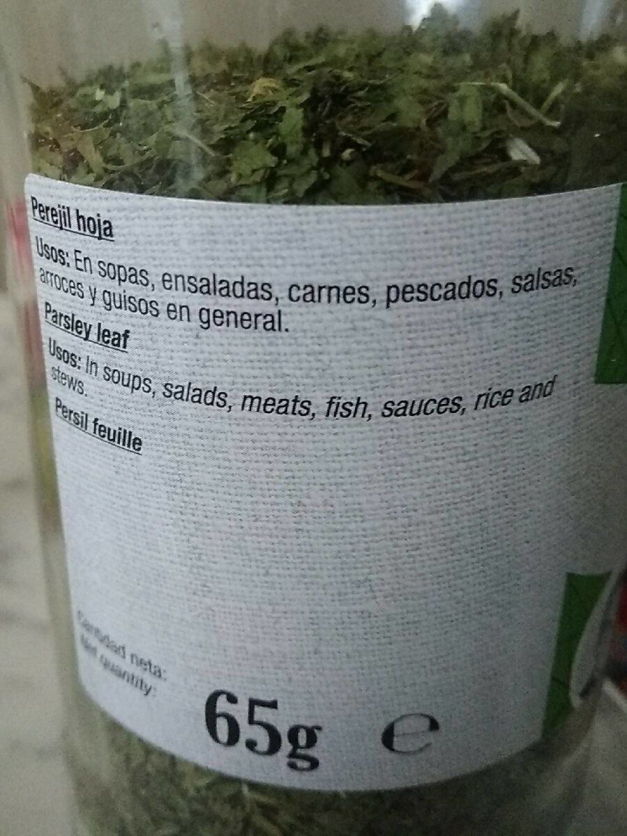 Perejil hoja - Informations nutritionnelles - es
