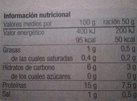 Navajuelas del pacífico al natural - Informations nutritionnelles - fr