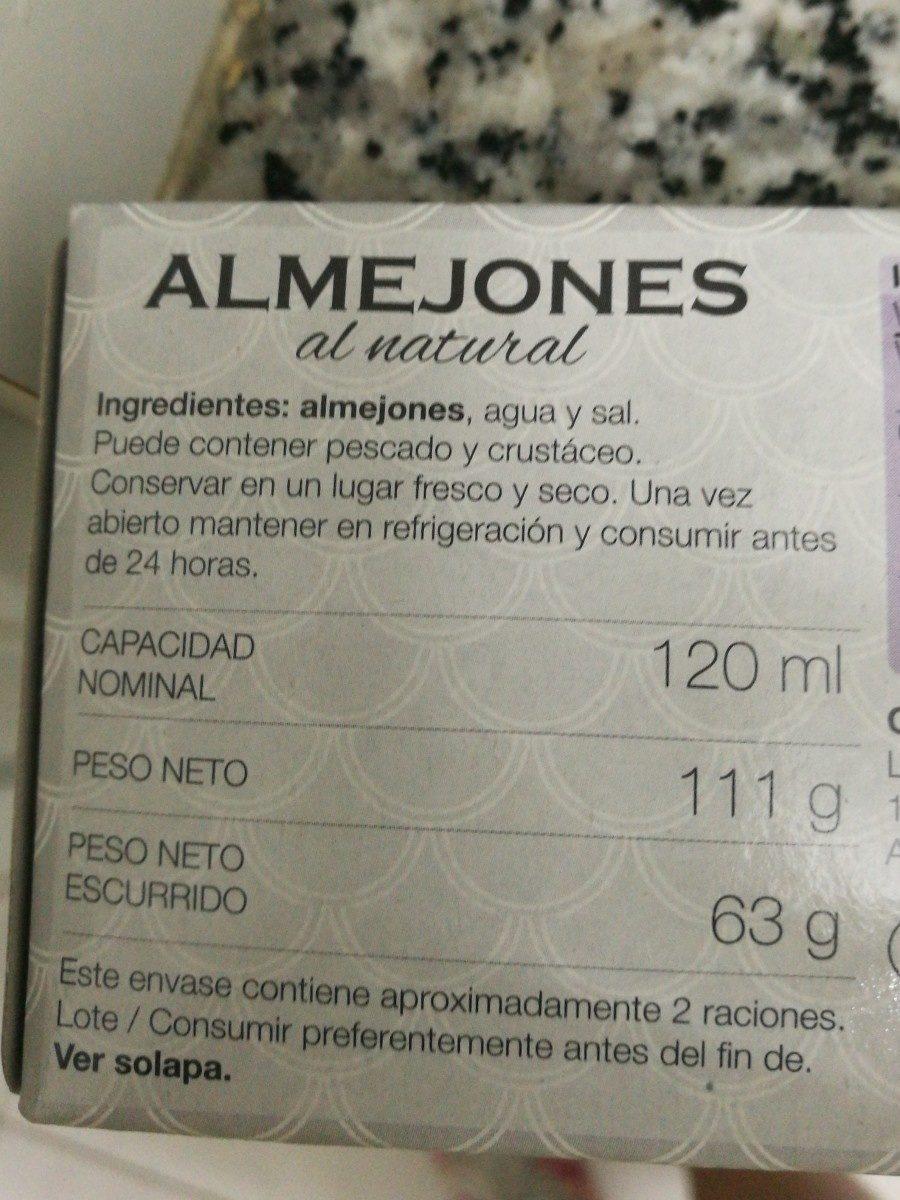 Almejones al natural - Ingrédients