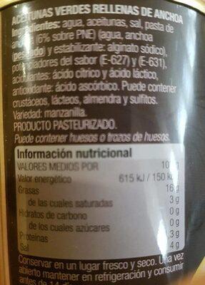 Aceitunas verdes manzanilla rellenas de anchoa Extra Grandes lata 150 g - Información nutricional