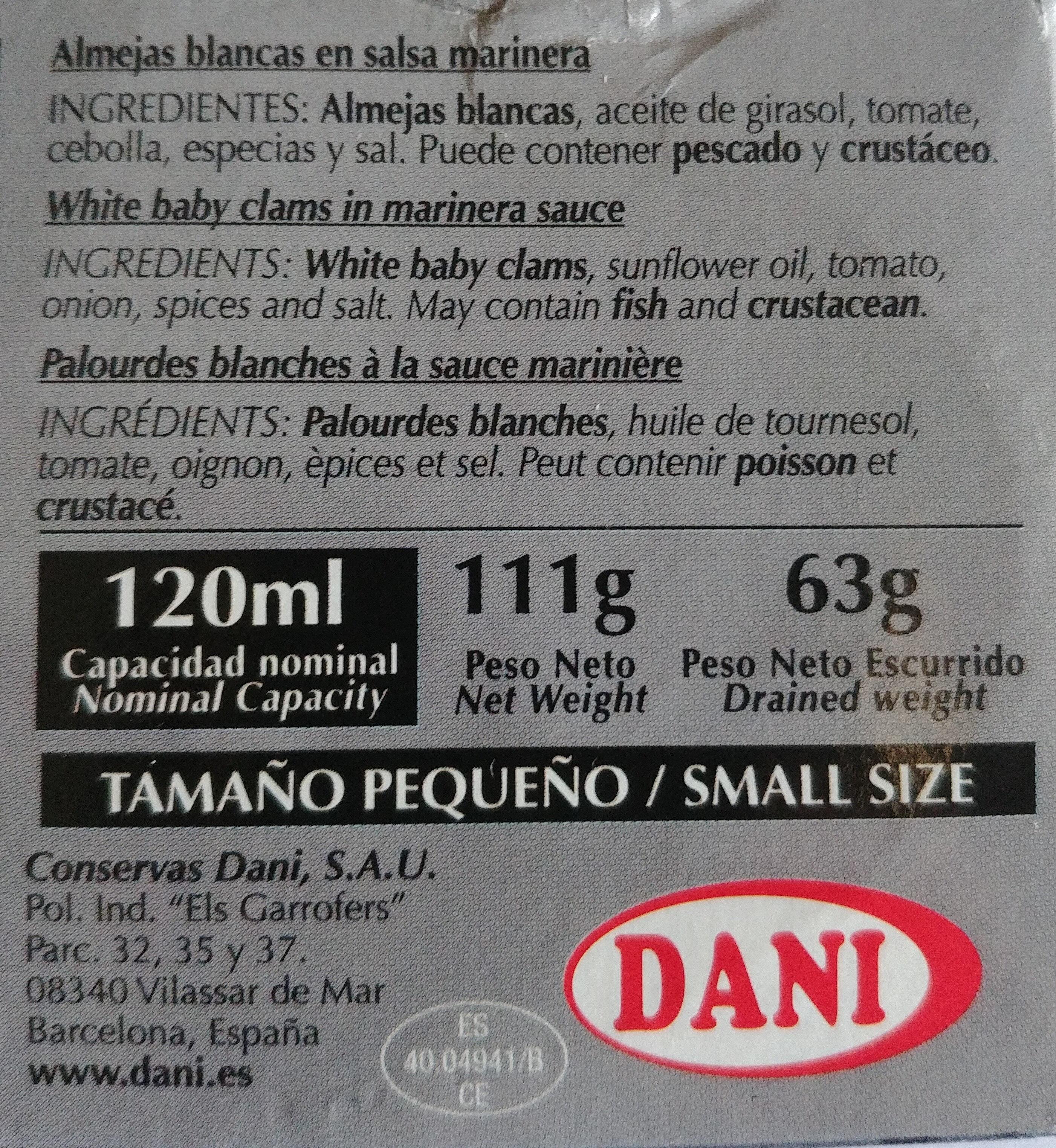 Almejas blancas en salsa marinera - Ingredientes