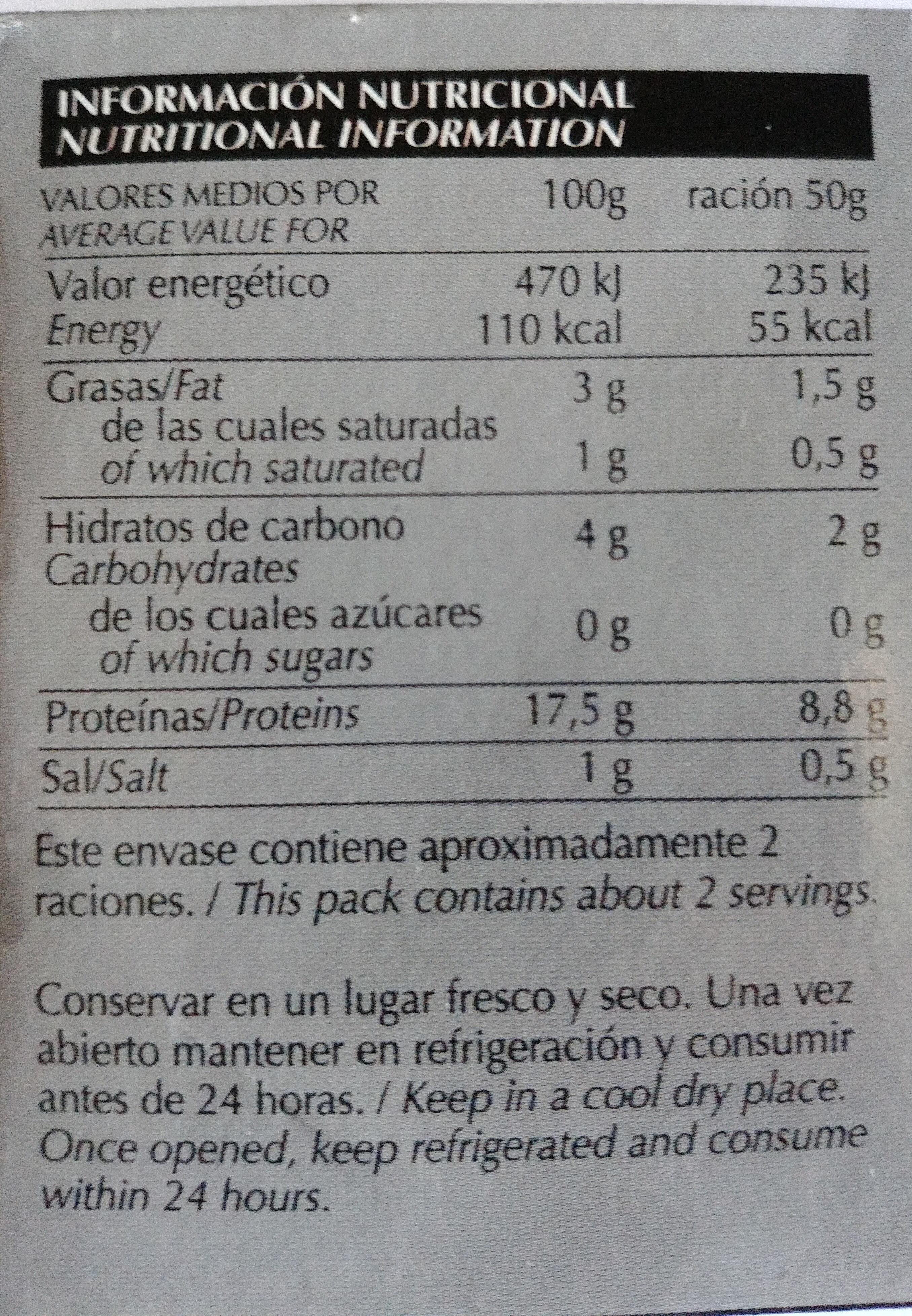 Almejas blancas en salsa marinera - Información nutricional