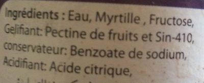 Confiture Myrtille - Ingredients - fr
