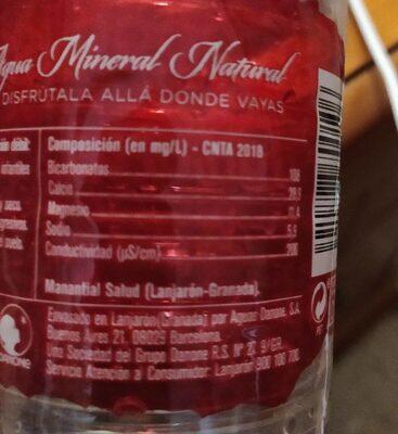 Agua Mineral - Información nutricional