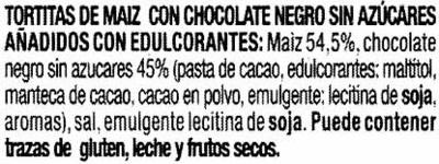 Tortitas de maíz con chocolate negro Diet Nature - Ingredientes