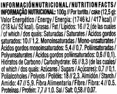Tortitas de maíz con chocolate negro Diet Nature - Información nutricional