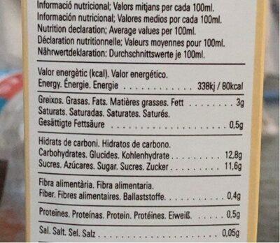 Horchata ecológica de Valencia - Información nutricional - fr
