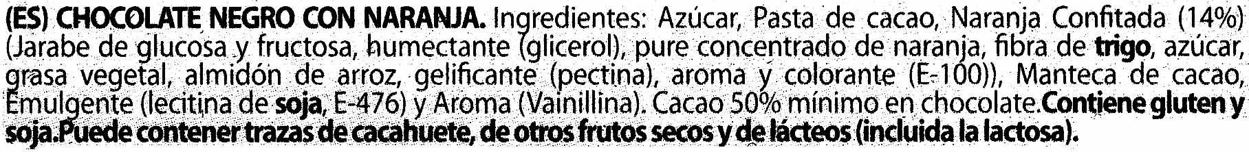 Chocolate negro con naranja 70% cacao - Ingredients