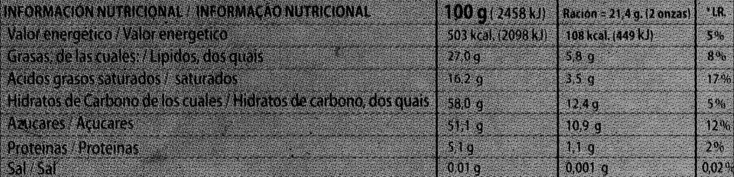 Chocolate negro con naranja 70% cacao - Informació nutricional