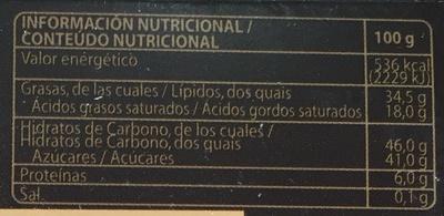 Bombones chocolate negro - Información nutricional