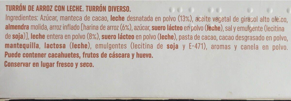Turron de Arroz con Leche - Ingredientes - es