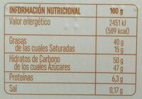 Turrón de chocolate y cafe - Información nutricional