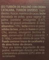 Turrón de praliné crema catalana - Ingrédients