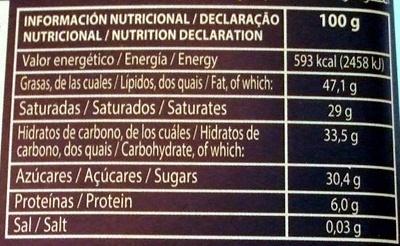 Chocolate negro 70% cacao - Información nutricional - pt