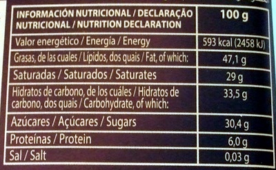 Lacasa Chocolate Negro / Preto 70% cacau - Información nutricional