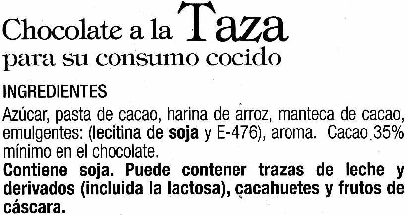 Tableta de chocolate negro a la taza 35% cacao - Ingredientes
