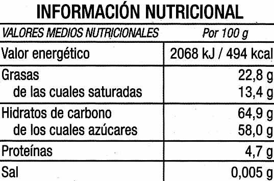 Tableta de chocolate negro a la taza 35% cacao - Información nutricional - es