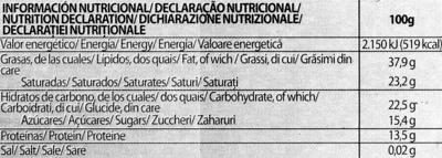 Chocolat noir 85% - Información nutricional